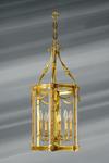 Très grande lanterne classique en bronze et verre  six lumières. Lucien Gau.