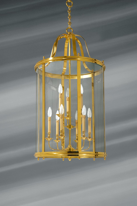 Très grande lanterne en verre courbé et bronze massif neuf lumières. Lucien Gau.