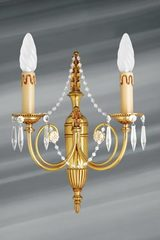 Bohemian crystal and golden bronze sconce two lights. Lucien Gau.