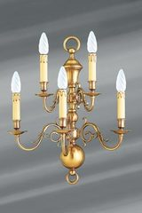 Dutch style sconce in brass with five lights. Lucien Gau.