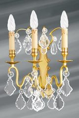 Golden and bohemian crystal wall lamp three lights. Lucien Gau.