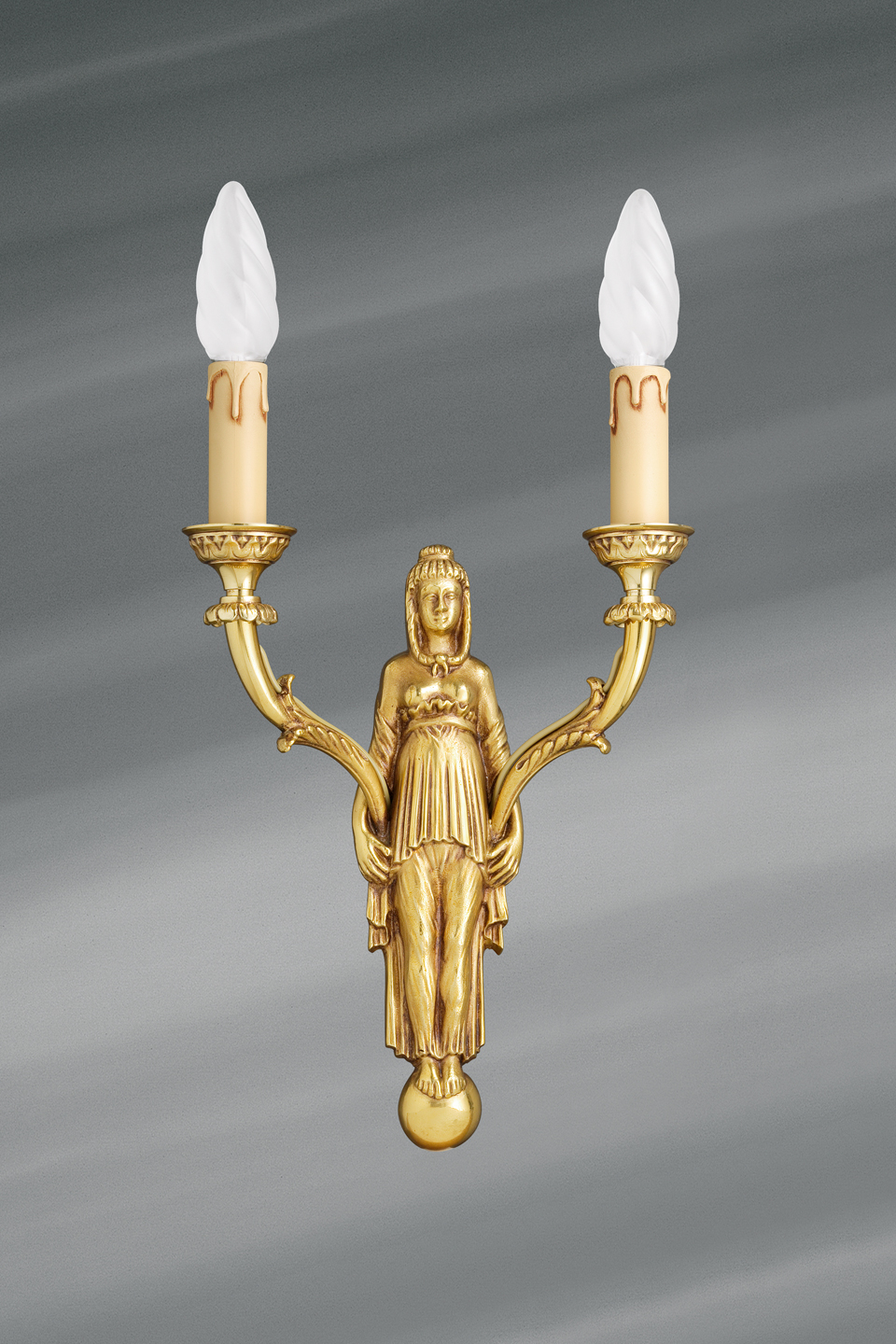Golden wall lamp, Directoire style, solid bronze, bright gold finish. Lucien Gau.