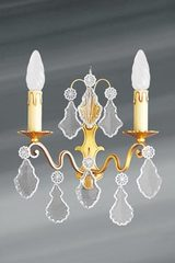 Golden Louis XV wall lamp with bohemian crystal 2 lights. Lucien Gau.