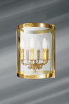 Wall lamp Empire style three lights solid bronze and glass. Lucien Gau.