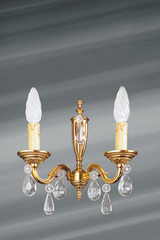 Wall lamp in gilded bronze with crystal pendants, Louis XVI style, two lights. Lucien Gau.