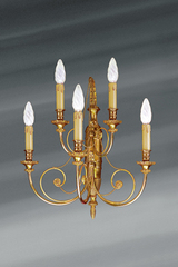 Wall lamp in solid bronze, Directoire style, five lights. Lucien Gau.