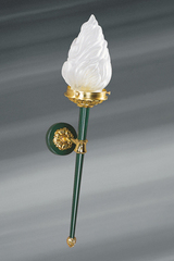 Wall lamp in solid bronze, gold and green, Directoire style. Lucien Gau.