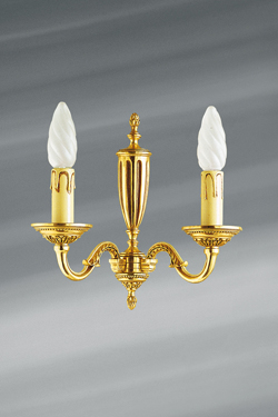 Wall lamp Louis XVI patinated old gold, two candles. Lucien Gau.