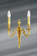 Wall lamp Louis XVI patinated old gold, two candlesticks. Lucien Gau.