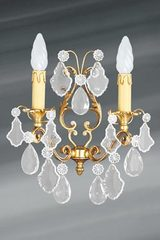 Louis XV bohemian crystal and bronze old gold wall lamp two lights. Lucien Gau.