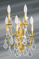 Old gold bronze and bohemian crystal wall lamp five lights. Lucien Gau.