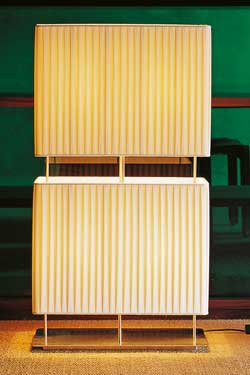 Lampadaire double abat-jour en soie plissée. Luminara.