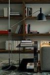 Bauhaus 90 lampadaire métal chrome et noir. Lumini.