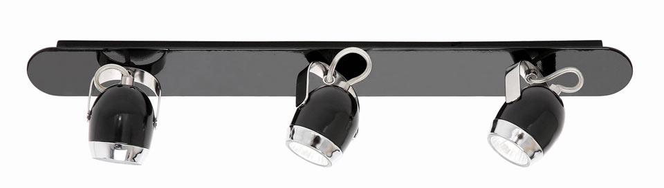 Boogie mini W3 applique triple noire style rétro. Luz Difusion.