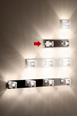 Kendo W2 applique 2 lumières socle rectangulaire chromé. Luz Difusion.
