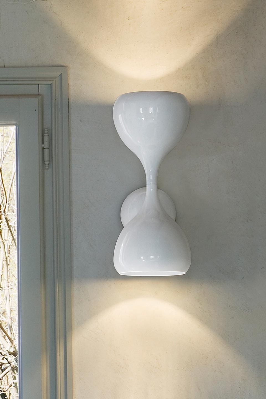 Applique Blob En Métal Laqué Blanc Brillant. Masiero.