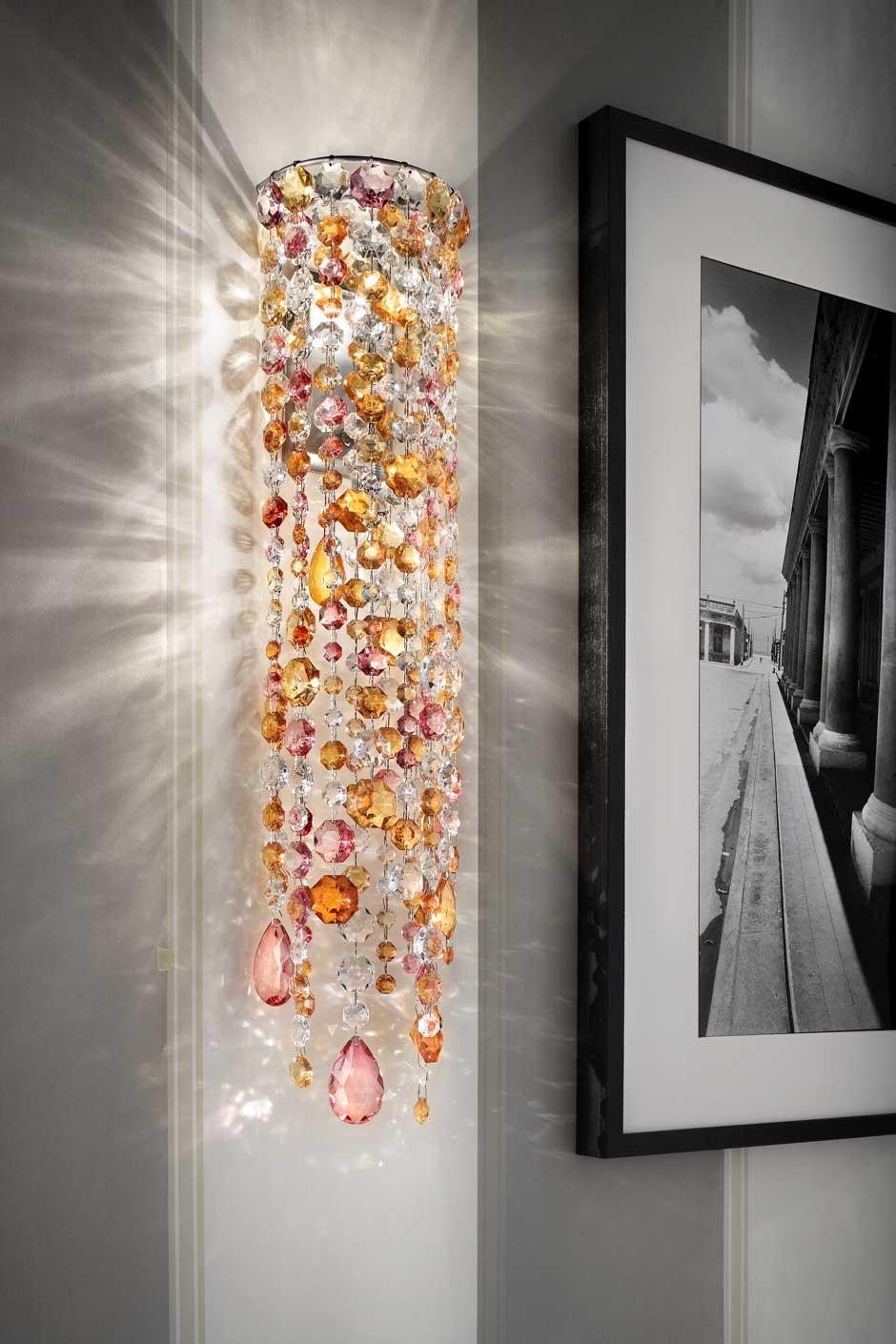 Applique cylindrique en cristal rose et orange. Masiero.