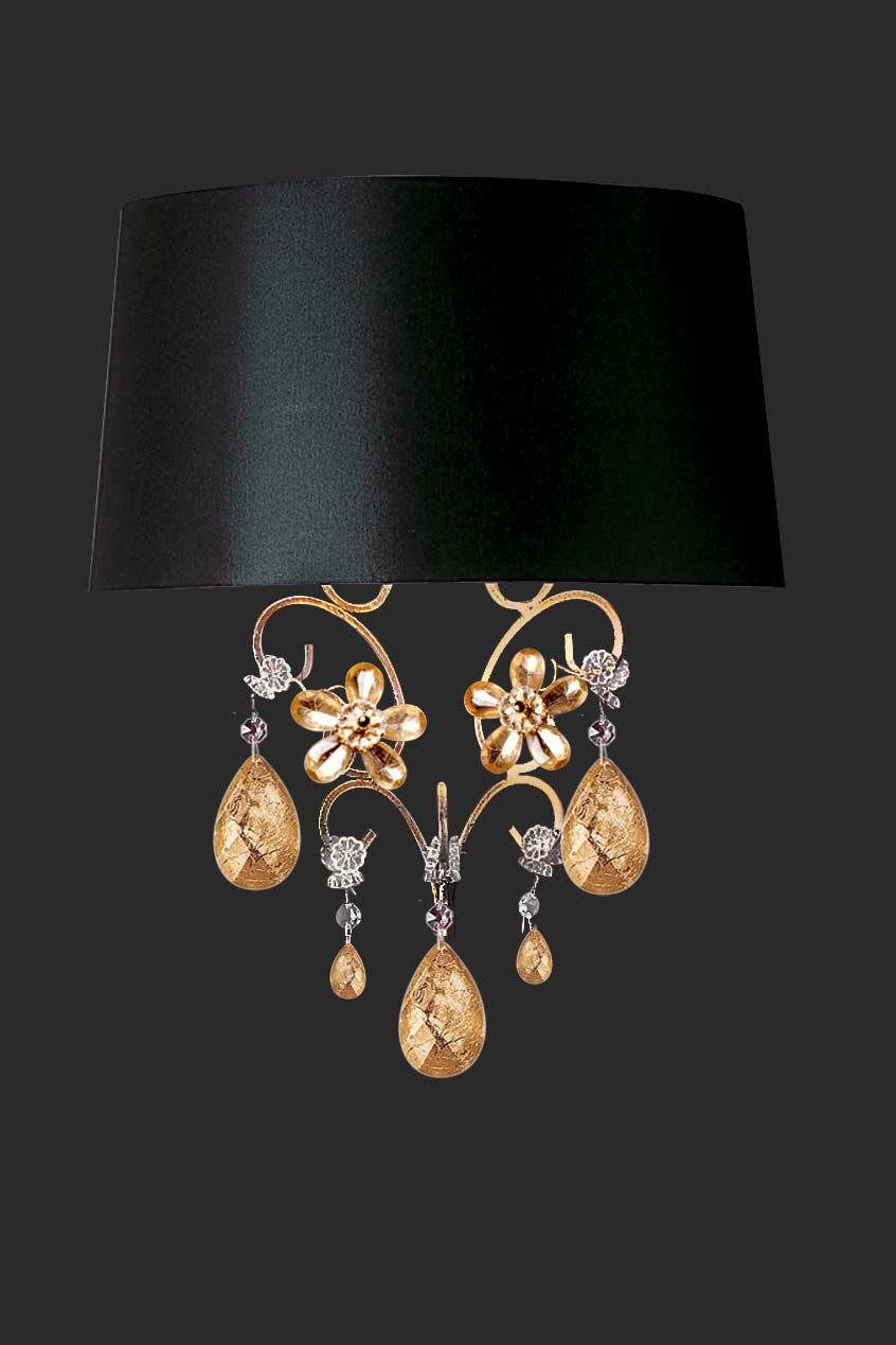 Applique dorée et cristal fleurs feuille d