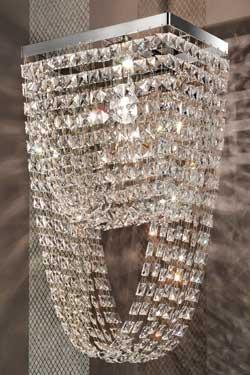 Applique en cristal double drapé section rectangulaire. Masiero.