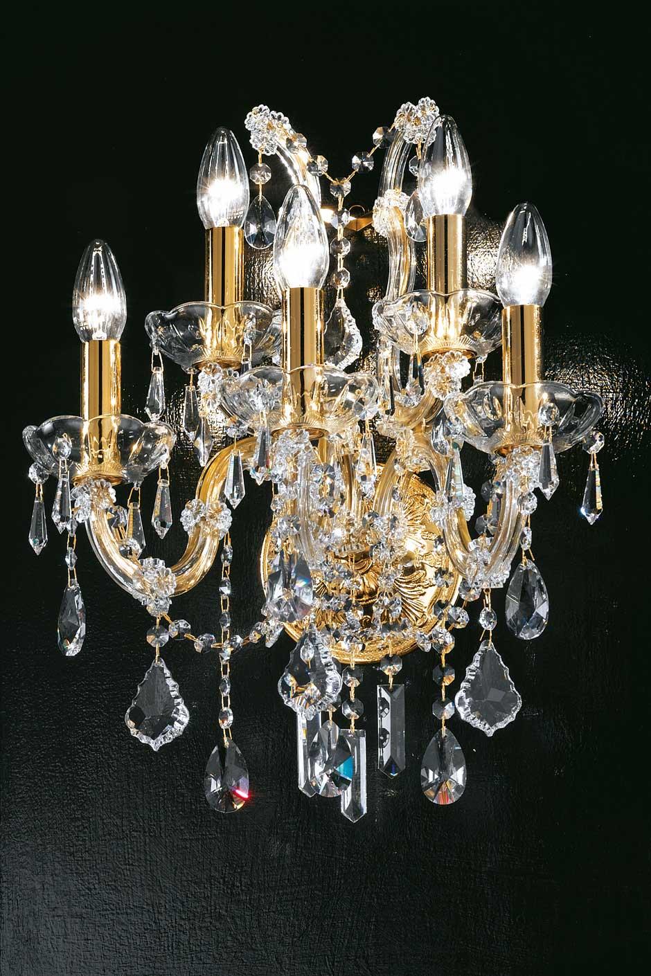 Applique murale 5 lumières cristal et métal doré forme bouquet. Masiero.
