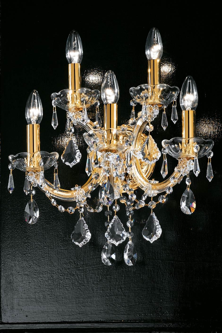 Applique murale 5 lumières cristal et métal doré forme simple. Masiero.