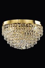 Conical crystal and gold-plated ceiling light . Masiero.