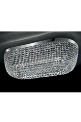 Large chrome ceiling lamp 18 crystal lights. Masiero.