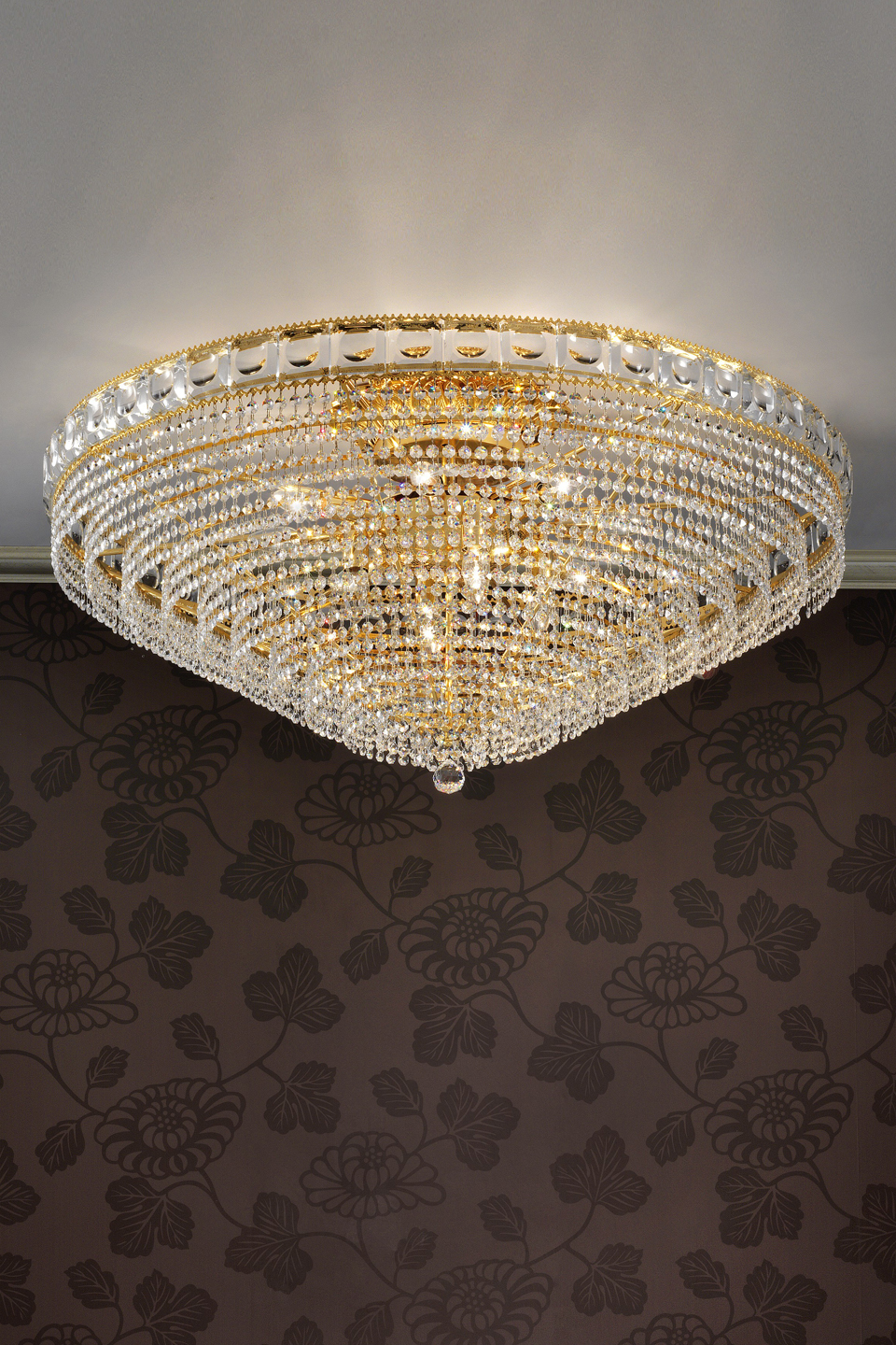 Ceiling Lamp 12 Lights Gold And Crystal