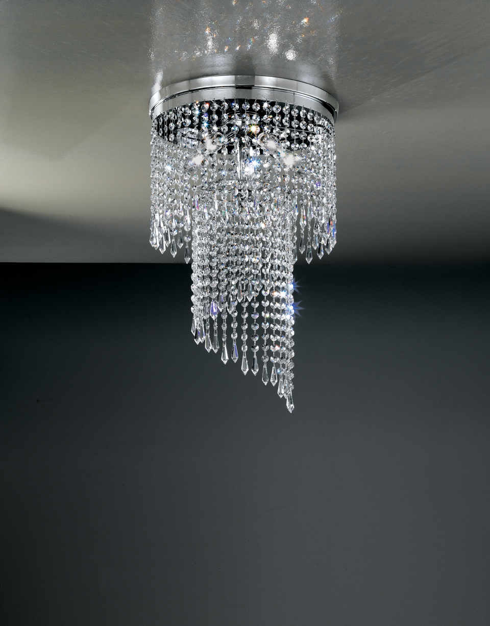Asymmetric ceiling lamp chrome structure crystal drops