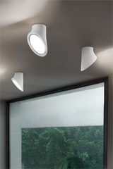 White ceiling lamp in expanded polyurethane and diffuser in methacrylate Mabell. Masiero.