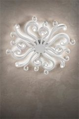 White ceiling lamp in expandedpolyurethane and varnished metal Virgo . Masiero.