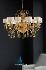 10-light orange crystal and antique gold-plated metal chandelier. Masiero.