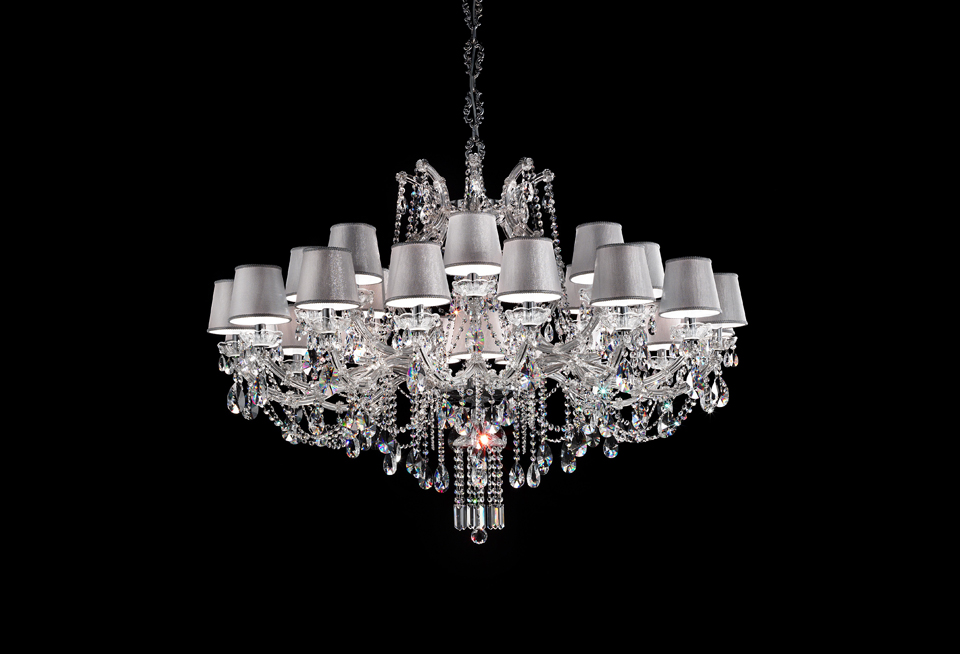 24 lights chandelier in chromed metal | Masiero | Murano and crystal chandeliers, lamps and wall lights - Réf. 18110157