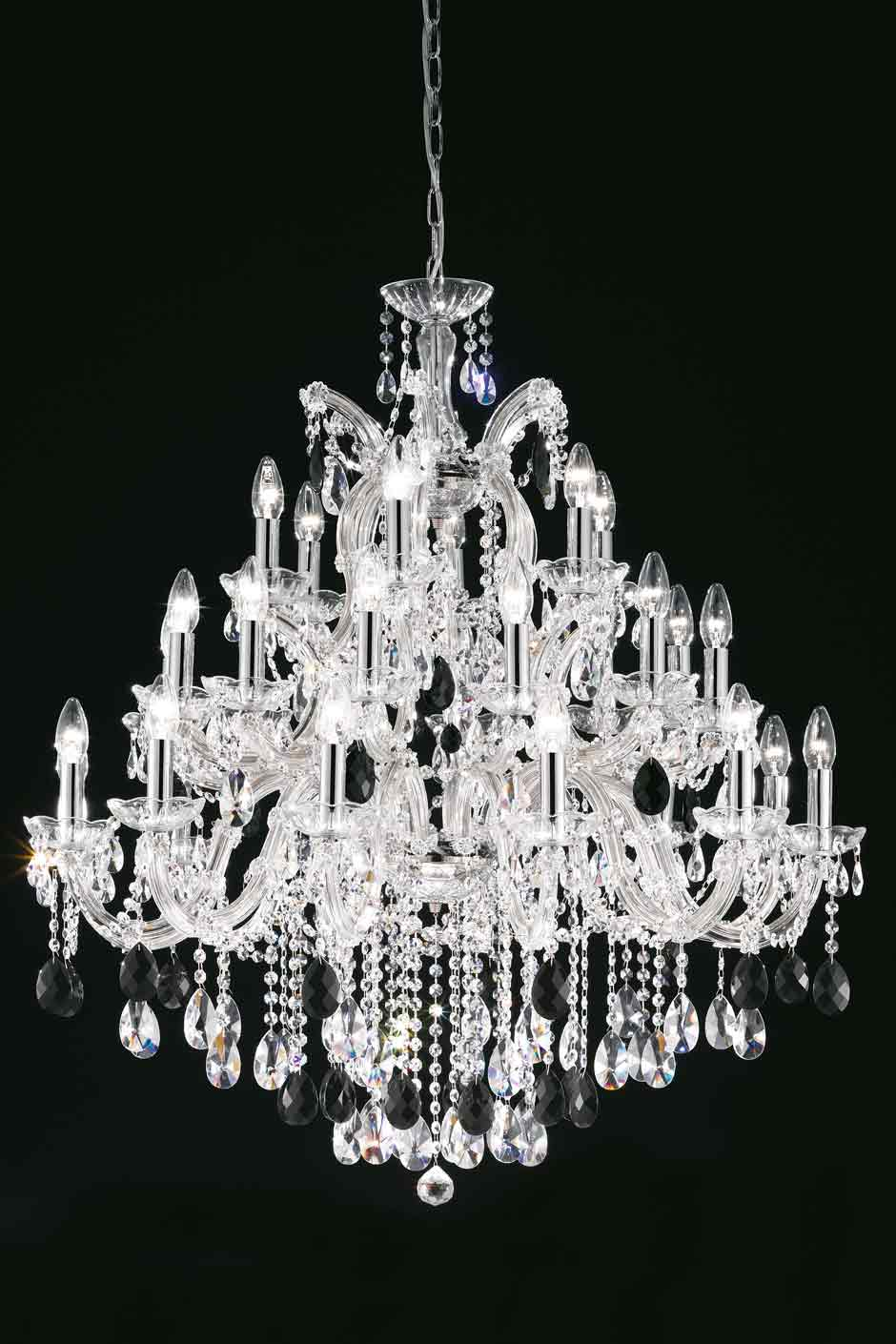 Clear Bohemian crystal chandelier in chrome-plated metal