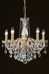 Clear crystal and gold-plated-metal 5-light bouquet chandelier. Masiero.