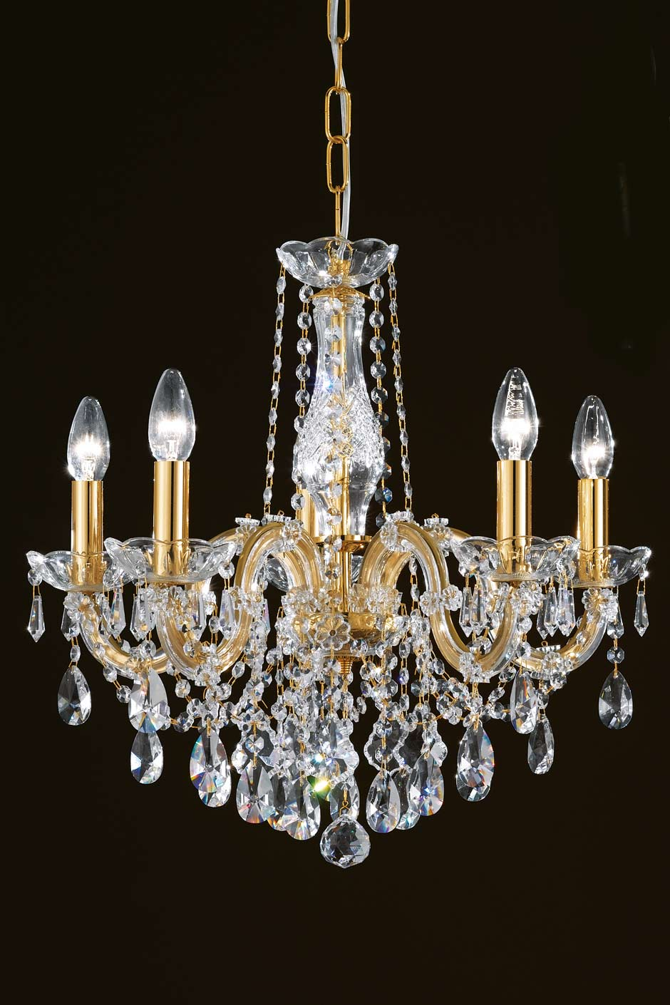 Clear crystal and gold-plated-metal 5-light bouquet chandelier ...