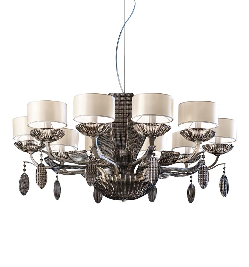 Satin Nickel Chandelier Isbel 10 Lights