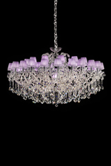 Glass chandelier with chromed metal structure 15 lights. Masiero.