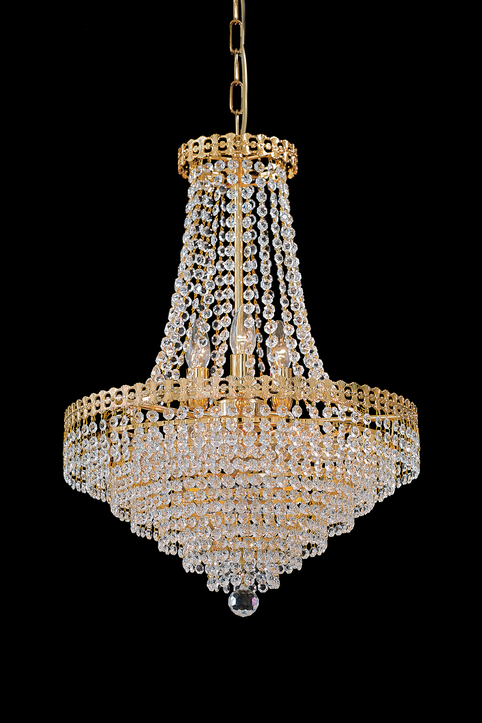 Decorated Golden Structure Chandelier Matching Ceiling Light