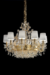 Gold and white chandelier 13 lights. Masiero.