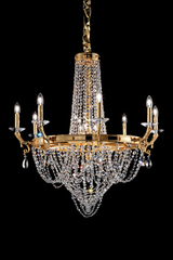Golden and transparent crystal balloon chandelier . Masiero.