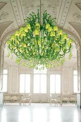 Green crystal chandelier. Masiero.