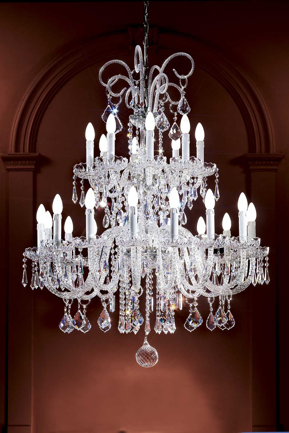 Large clear twisted-crystal chandelier. Masiero.