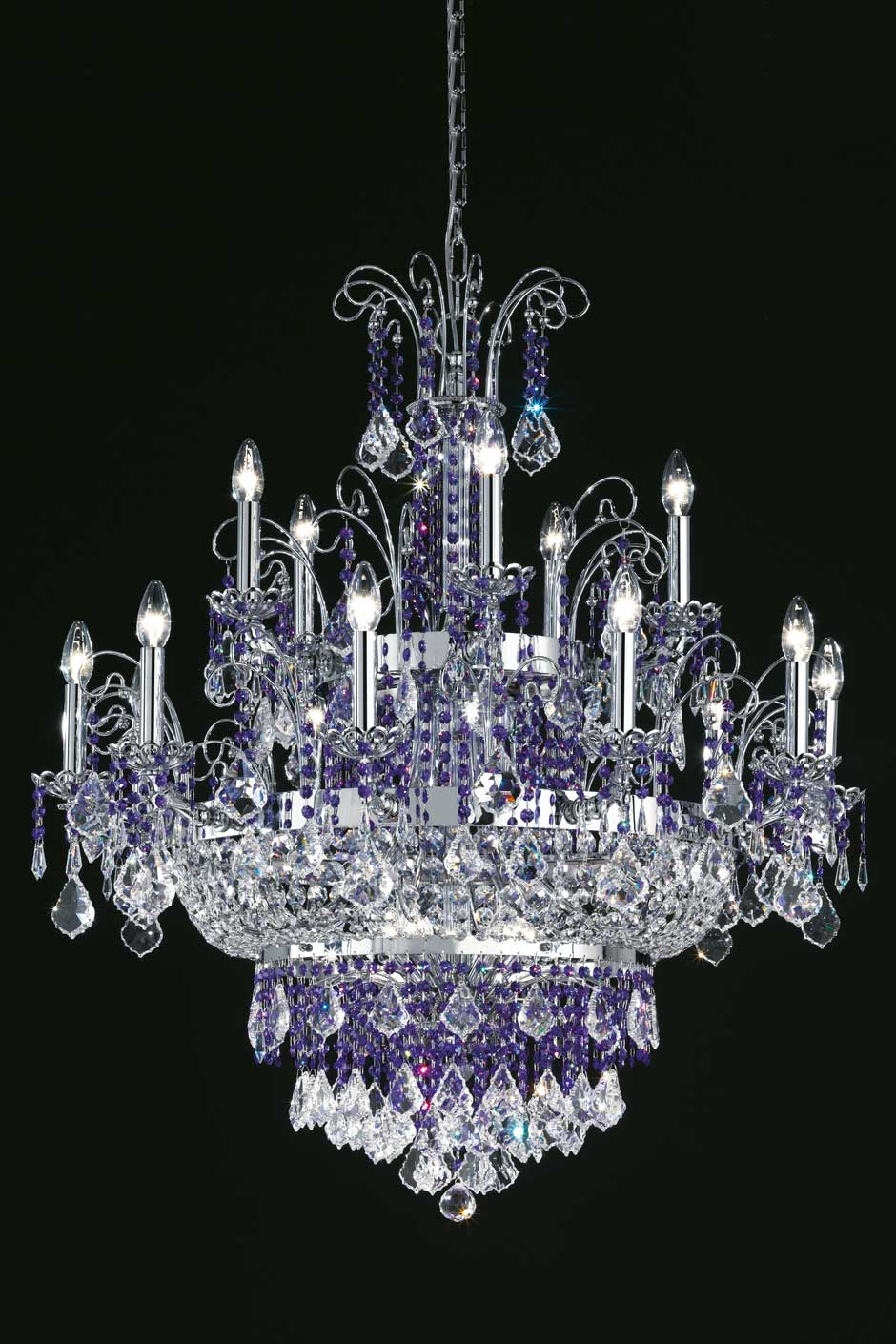 Large 15-light chandelier in clear crystal and polished stainless steel. Masiero.