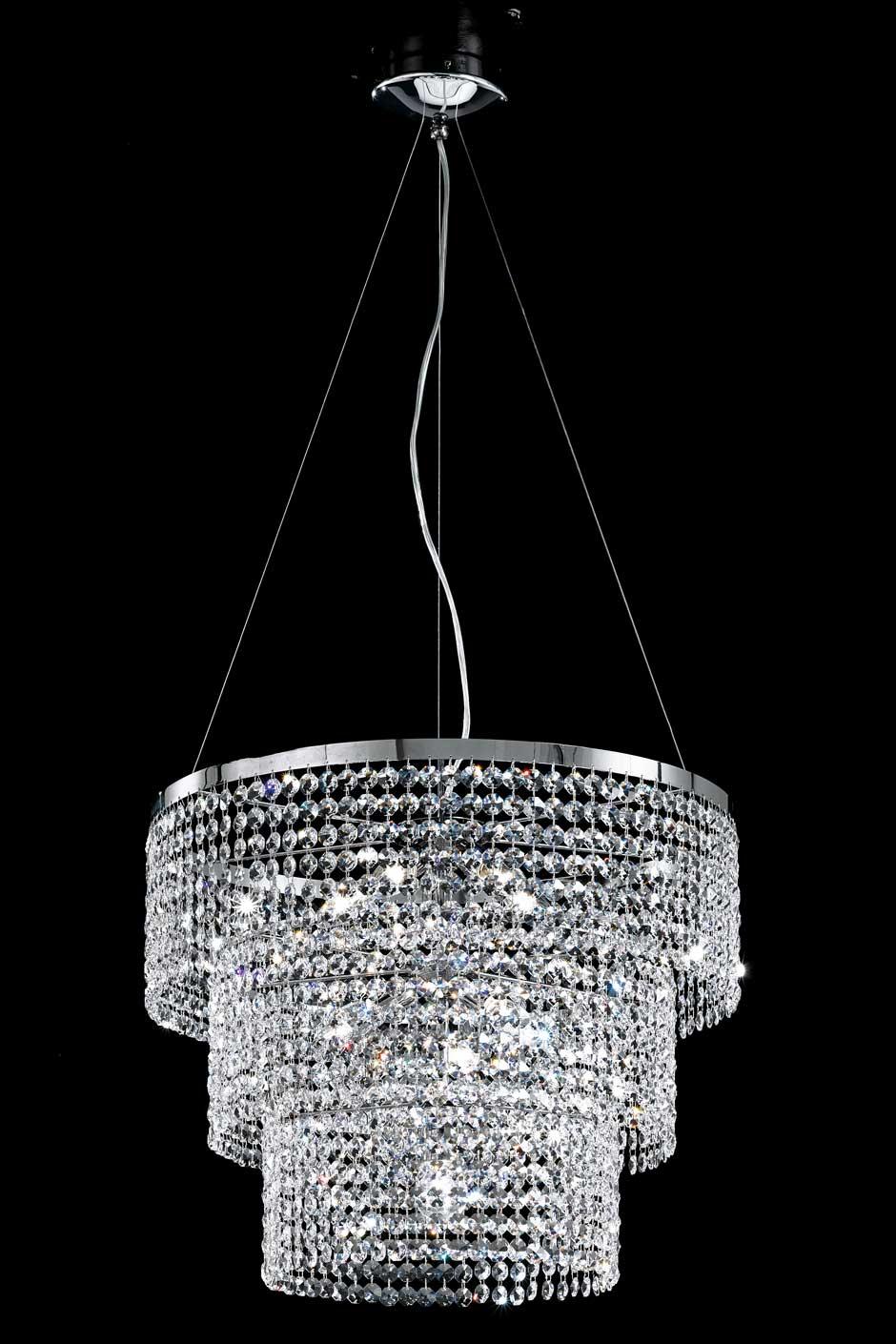 Large Triple Cylinder Crystal Chandelier Masiero