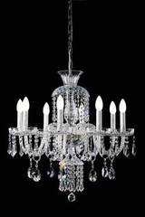 8-light clear crystal chandelier. Masiero.