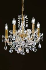 5-light clear crystal and gold-plated-metal chandelier. Masiero.