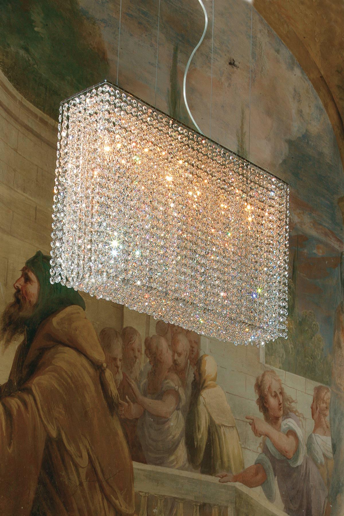 Rectangular clear crystal chandelier Masiero