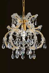 Single-light clear crystal and gold-plated-metal chandelier. Masiero.
