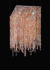 Square pink and orange crystal chandelier. Masiero.